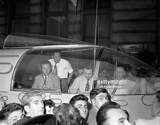 News reports from the 1948 Republican National Convention Philadelphia Pennsylvania June 24 1948 A weatherproof press box built on a truck chassis...