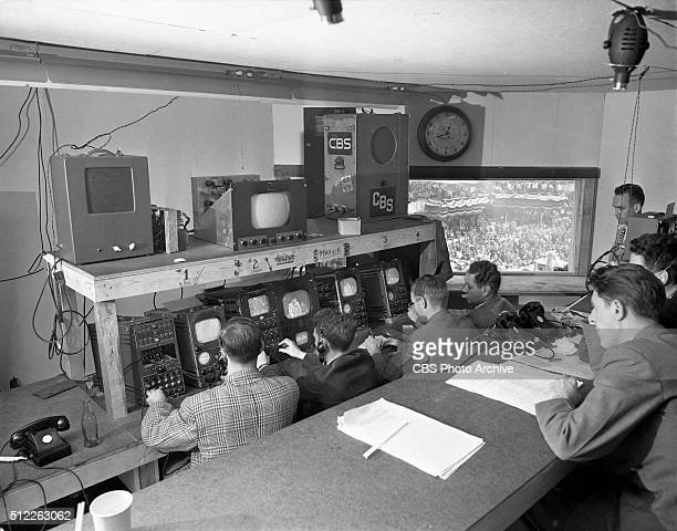News reports from the 1948 Republican National Convention Philadelphia Pennsylvania June 24 1948 Pictured Technicians with television equipment in...