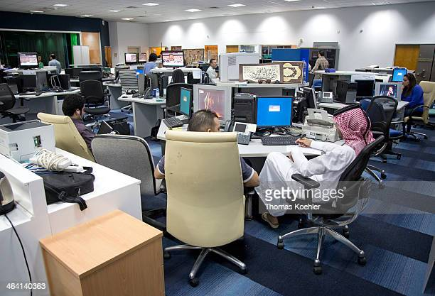News room at the headquarters of Al Jazeera here a control room during a recording for the Arabic speaking program on June 05 in Doha Qatar Photo by...