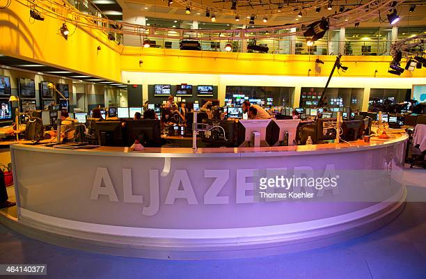 News room at the headquarters of the broadcaster Al Jazeera on June 05 in Doha Qatar Photo by Thomas Koehler/Photothek via Getty Images