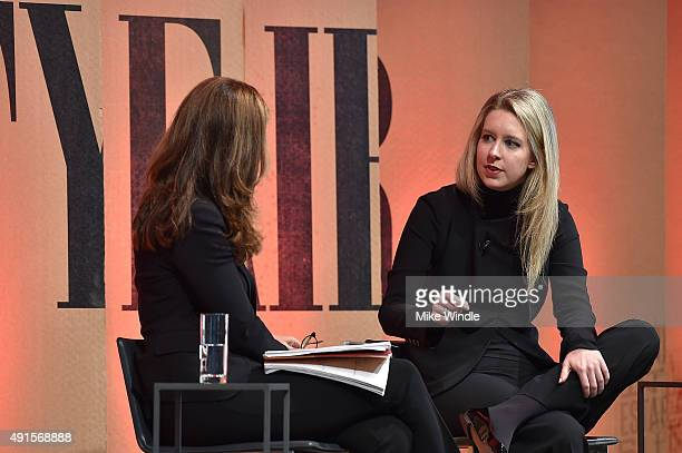 News Special Anchor Maria Shriver and Theranos Founder and CEO Elizabeth Holmes speak onstage during 'True Blood—Diagnostics in the New Age' at the...