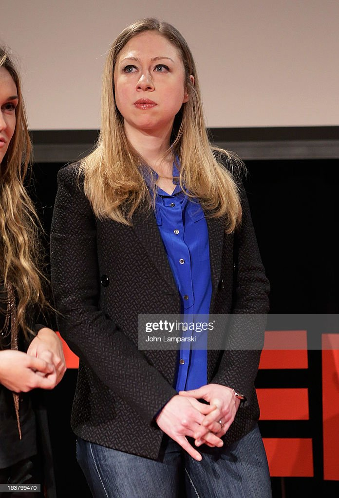 News Special correspondent <a gi-track='captionPersonalityLinkClicked' href=/galleries/search?phrase=Chelsea+Clinton&family=editorial&specificpeople=119698 ng-click='$event.stopPropagation()'>Chelsea Clinton</a> attends TEDxTeen 2013 at Scholastic Inc. Headquarters on March 16, 2013 in New York City.