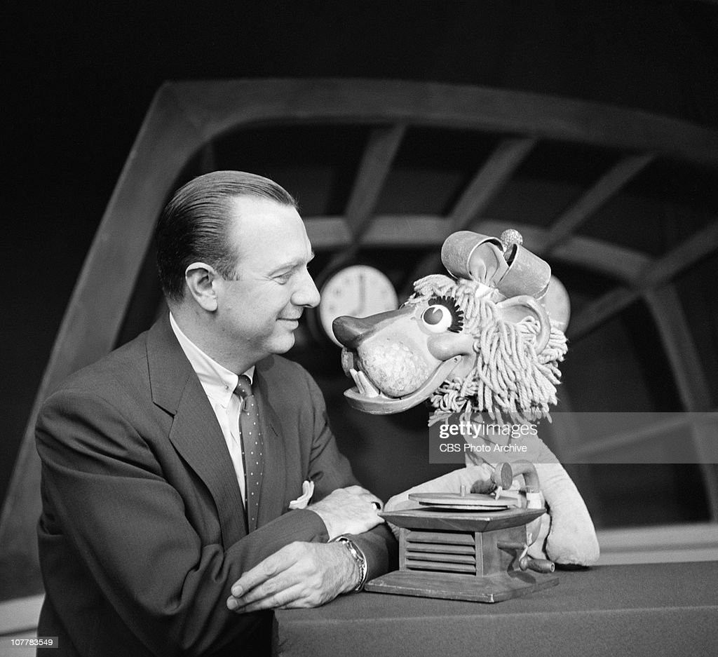 CBS News' THE MORNING SHOW featuring host Walter Cronkite and puppet Charlemagne the Lion. Image dated February 19, 1954.