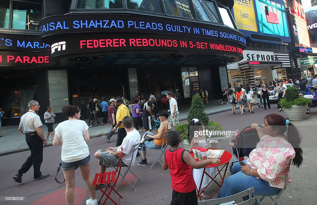 A news ticker announces the Faisal Shahzad guilty plea in Times Square June 21, 2010 in New York City. Accused Times Square bomber Faisal Shahzad pleaded guilty on June 21 to all terror and weapons charges.