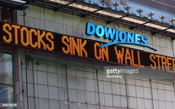 A news ticker in Times Square reflects Wall Street's worst single day in nearly two years as Dow Jones Industrial Average dropped 191 points in its...