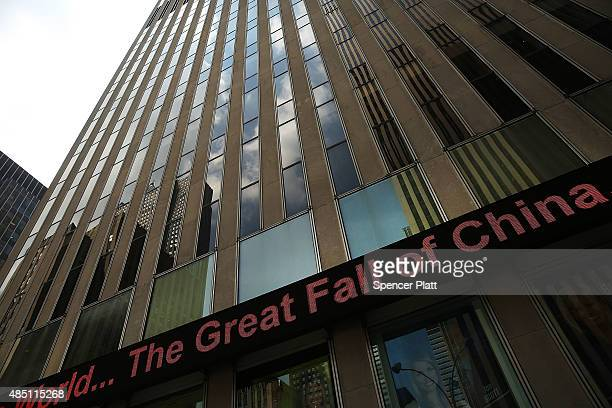 A news ticker is seen in midtown Manhattan on August 24 2015 in New York City As the global economy continues to react from events in China markets...