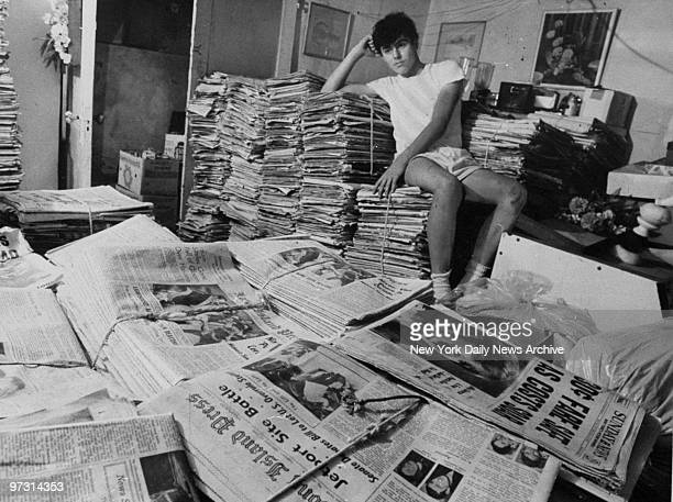 Newsboy Curtis Sliwa in his Canarsie home with old newspapers
