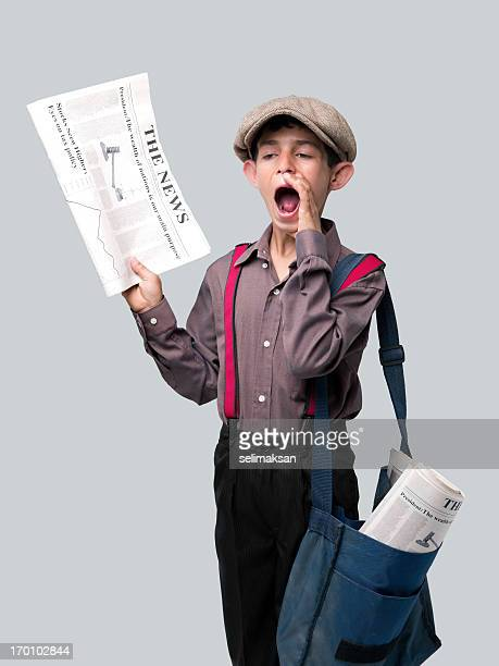 Newsboy holding newspaper and shouting to sell