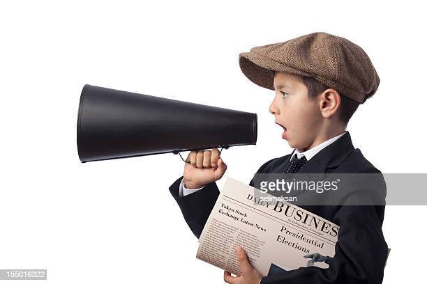 Newsboy holding Newspaper and Shouting With Megaphone