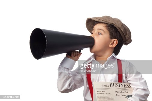 Newsboy holding paper and shouting on megaphone