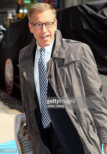 Newscaster Brian Williams arrives at 'Late Show With David Letterman' at the Ed Sullivan Theater on May 2 2011 in New York City