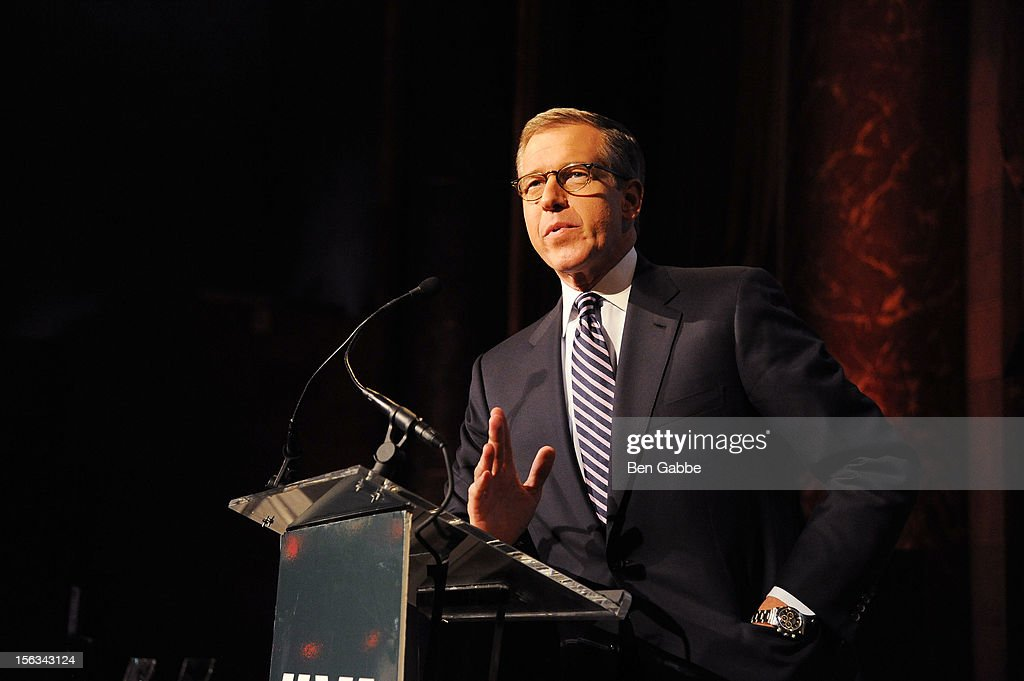 Newscaster <a gi-track='captionPersonalityLinkClicked' href=/galleries/search?phrase=Brian+Williams+-+News+Anchor&family=editorial&specificpeople=206917 ng-click='$event.stopPropagation()'>Brian Williams</a> speaks at IAVA's Sixth Annual Heroes Gala at Cipriani 42nd Street on November 13, 2012 in New York City.