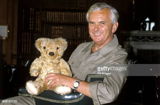 BBC newscaster Kenneth Kendall with his teddy bear Teddygiles at a charitable event at Longleat House in Wiltshire