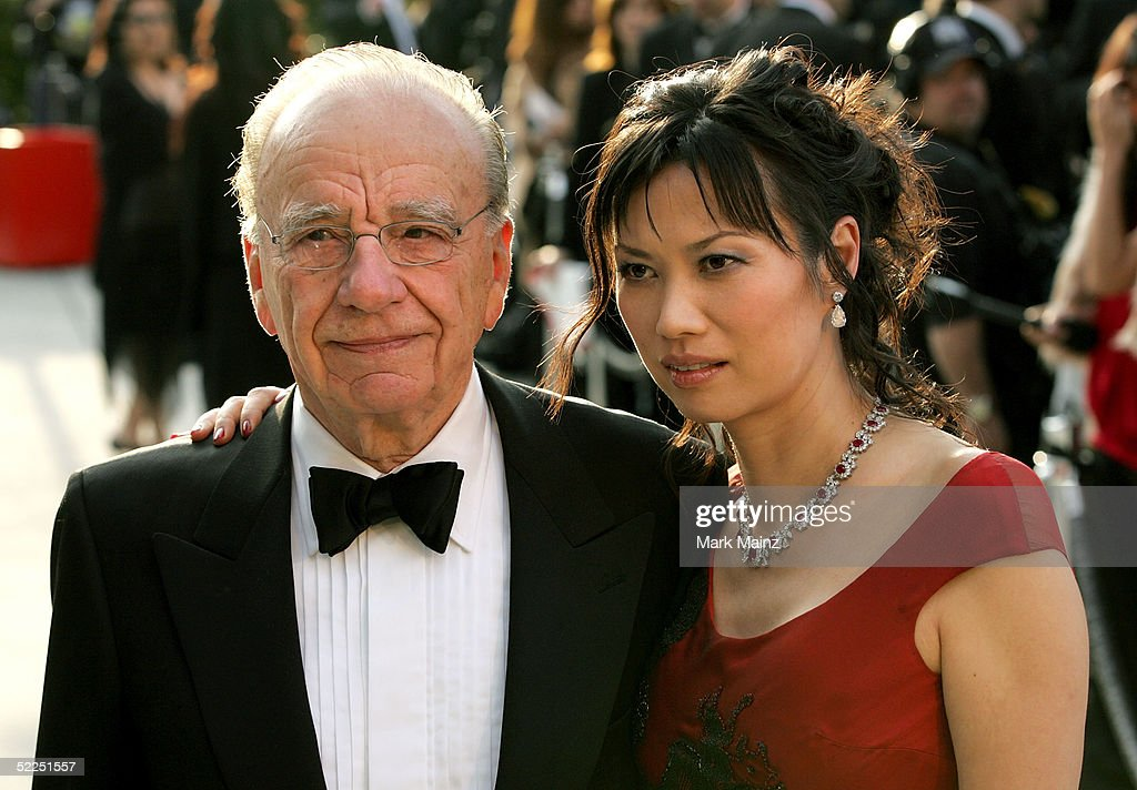 NewsCorp CEO Rupert Murdoch and wife Wendy Deng arrive at the Vanity Fair Oscar Party at Mortons on February 27, 2005 in West Hollywood, California.