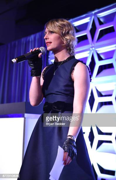 Newsmaker of the Year Chelsea Manning speaks on stage during OUT Magazine #OUT100 Event presented by Lexus at the the Altman Building on November 9...