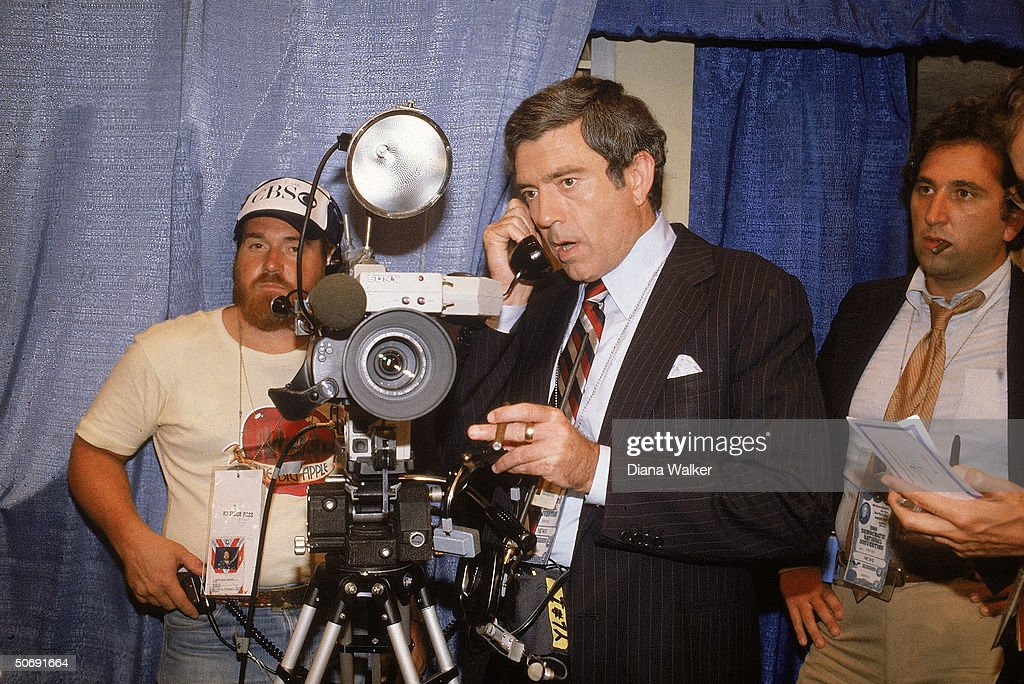 CBS newsman Dan Rather with camera crew at Democratic convention.