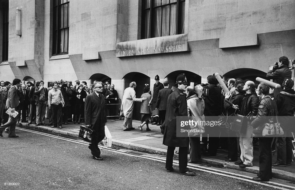 Newsmen gather outside the Central Criminal Court (the Old Bailey) in London, for the opening of the the murder trial of Peter Sutcliffe, aka 'The Yorkshire Ripper', 29th April 1981. Two weeks later, Sutcliffe was found guilty of thirteen counts of murder, and sentenced to life imprisonment.