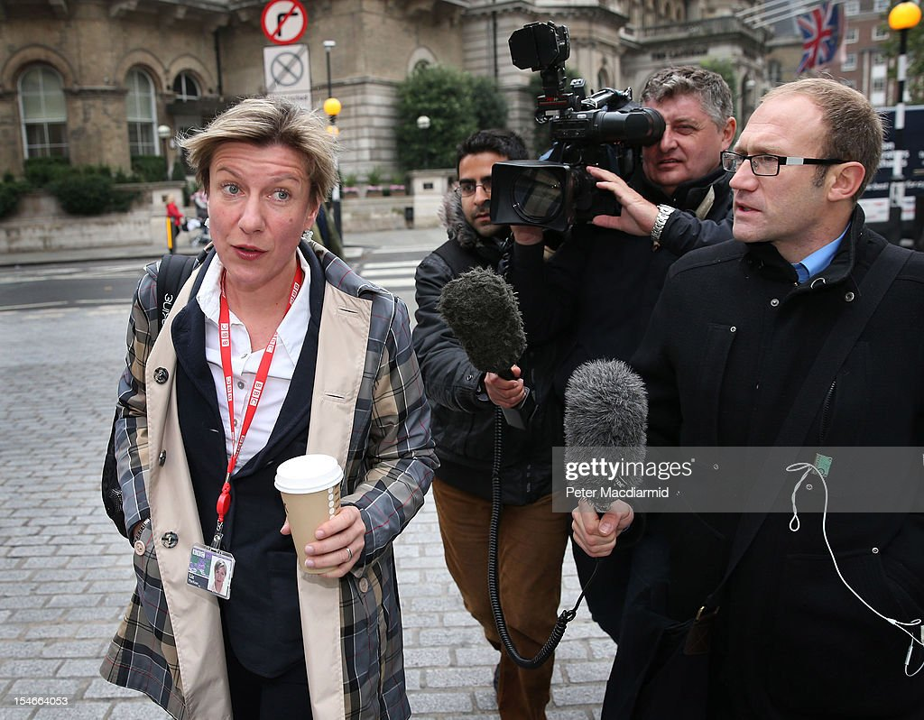 Newsnight journalist Liz Mackean (L) is questioned by reporters as she arrives for work at BBC Broadcasting House on October 24, 2012 in London, England.A BBC1 'Panorama' documentary has new allegations about the handling by BBC2 programme 'Newsnight' over claims of sexual abuse allegedly carried out by fomer BBC television presenter, Jimmy Savile, the transmission of which was subsequently dropped. Police have confirmed that Sir Jimmy Savile, the BBC presenter and DJ who died in October 2011 aged 84, may have sexually abused young girls on BBC premises.