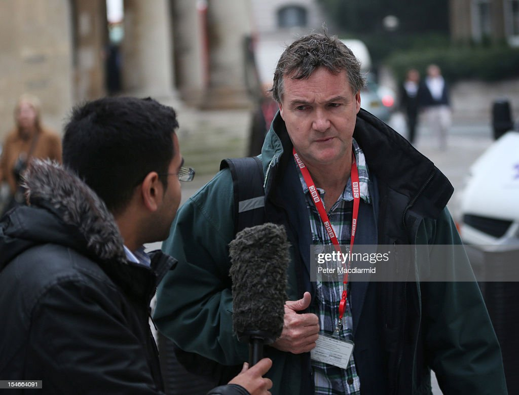 Newsnight journalist Meirion Jones is questioned by a fellow BBC reporter as he arrives for work at Broadcasting House on October 24, 2012 in London, England.A BBC1 'Panorama' documentary has new allegations about the handling by BBC2 programme 'Newsnight' over claims of sexual abuse allegedly carried out by fomer BBC television presenter, Jimmy Savile, the transmission of which was subsequently dropped. Police have confirmed that Sir Jimmy Savile, the BBC presenter and DJ who died in October 2011 aged 84, may have sexually abused young girls on BBC premises.
