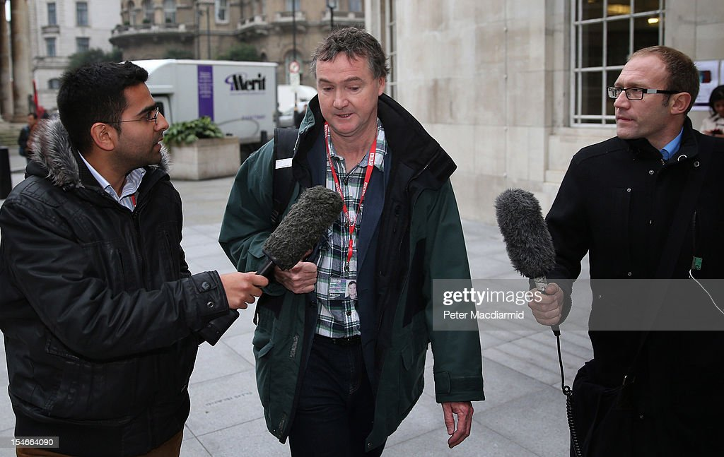 Newsnight journalist Meirion Jones is questioned by reporters as he arrives for work at Broadcasting House on October 24, 2012 in London, England.A BBC1 'Panorama' documentary has new allegations about the handling by BBC2 programme 'Newsnight' over claims of sexual abuse allegedly carried out by fomer BBC television presenter, Jimmy Savile, the transmission of which was subsequently dropped. Police have confirmed that Sir Jimmy Savile, the BBC presenter and DJ who died in October 2011 aged 84, may have sexually abused young girls on BBC premises.