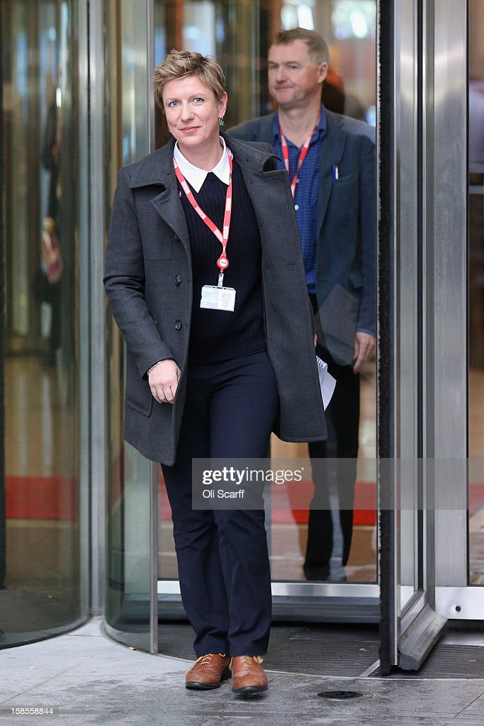 Newsnight journalists Meirion Jones and Liz Mackean (L) prepare to deliver a statement to the media outside BBC Broadcasting House on December 19, 2012 in London, England. The BBC Trust have announced the findings of the Pollard Review into the corporation's handling of sexual abuse allegations against former employee Jimmy Savile. Among the findings were that former Director-General George Entwistle failed to heed warnings relayed to him via email of Savile's 'dark side'.