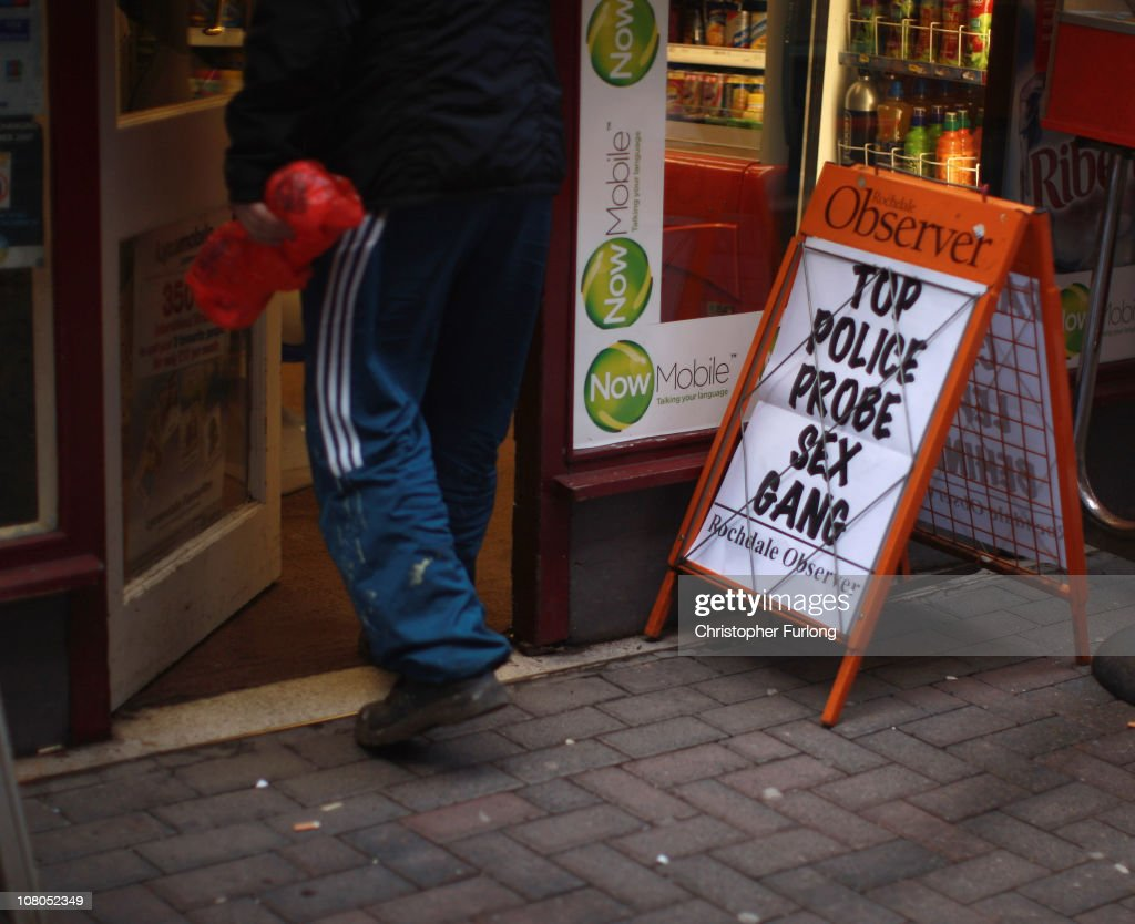 A newspaper advertising board outside a corner shop in the Lancashire town of Rochdale after nine men were arrested for child sexual exploitation on...