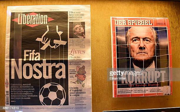 A newspaper and magazine cover are shown during the unveiling of 'The 'Beautiful Game' Turns Ugly' a display at The Mob Museum chronicling the FIFA...