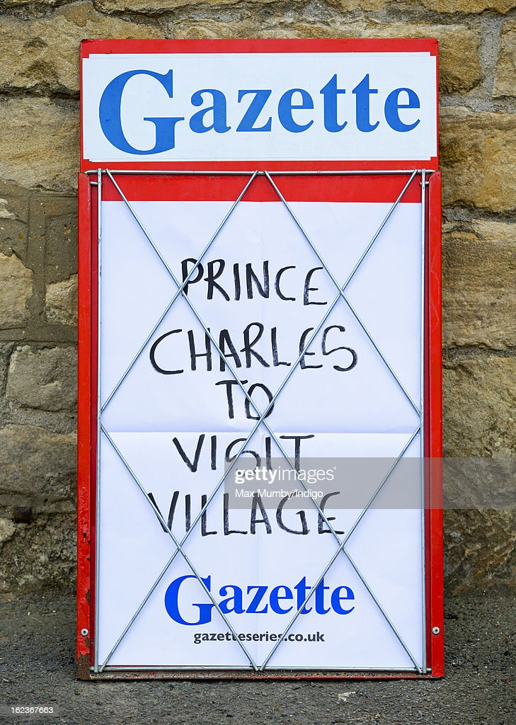A newspaper billboard seen outside the Uley Community Stores and Post Office prior to a visit by Prince Charles, Prince of Wales on February 22, 2013 in Uley, Gloucestershire, England.