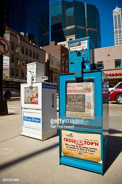 Newspaper boxes in downtown Chicago After the SunTimes Media Group filed for bankruptcy March 31 both major newspapers in Chicago The Chicago Tribune...