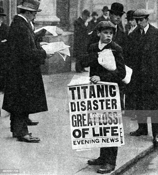 Newspaper boy with news of the Titanic disaster 14 April 1912 Evening News headlines Titanic Disaster Great Loss of Life Operated by the White Star...