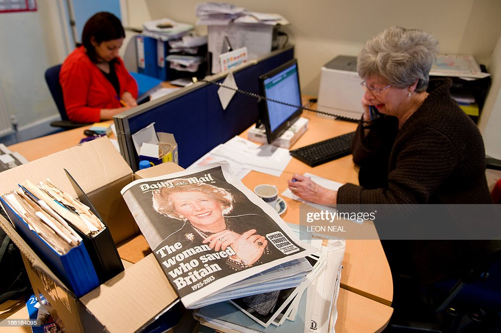 A newspaper front page announcing the death of former British Prime Minister Margaret Thatcher is pictured at the Conservative Party headquarters in Finchley in north London, on April 9, 2013. Thatcher was elected MP for Finchley in 1959 and her funeral will take place on April 17, Downing Street office said Tuesday. AFP PHOTO/Leon Neal