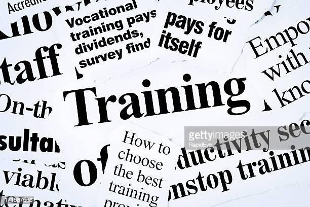 Newspaper headline clippings focused on training