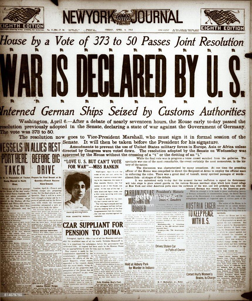 'War is Declared by U.S.'