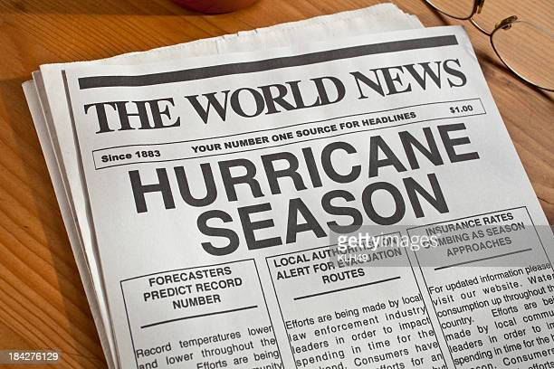 Newspaper headline warning of hurricane season