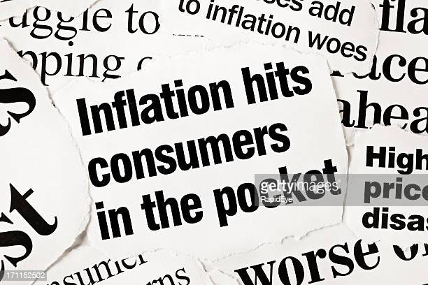 Newspaper headlines all concerned with inflation