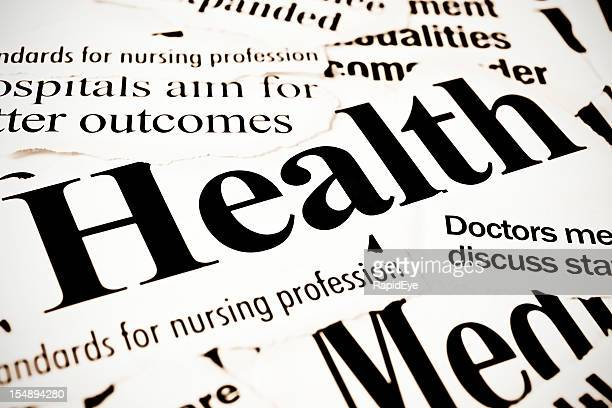 Newspaper headlines all dealing with health and medical issues