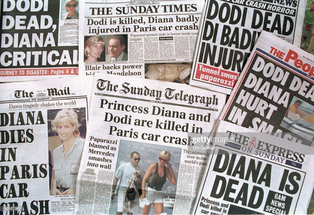 Newspaper Headlines Announcing The Death Of Princess Diana And Dodi Fayed In A Car Crash In Paris.