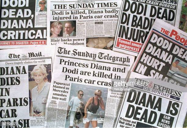 Newspaper Headlines Announcing The Death Of Princess Diana And Dodi Fayed In A Car Crash In Paris