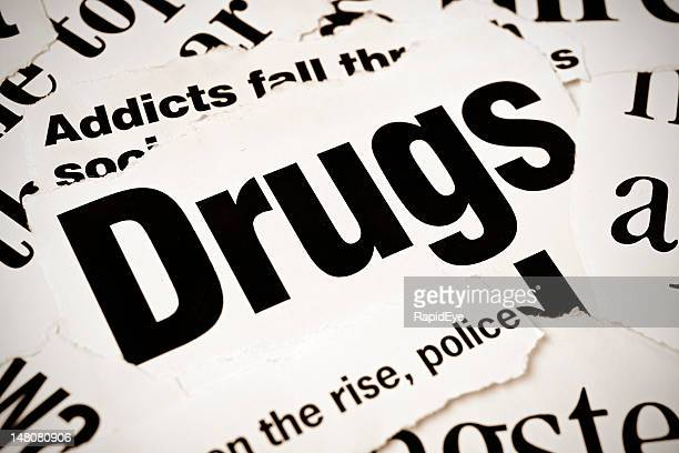 Newspaper headlines on drugs and addiction