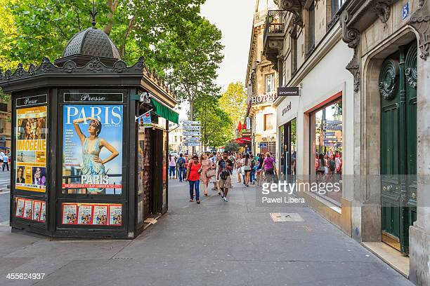 Newspaper kiosk and street scene in Paris