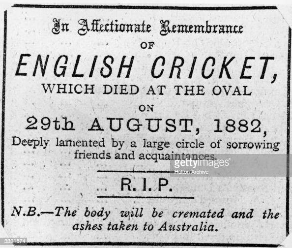 A newspaper obituary on the death of English cricket which appeared after England lost the 1882 Test Match against Australia The bales were burnt and...