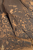 Newspaper Rock Petroglyph, Utah, USA, close-up