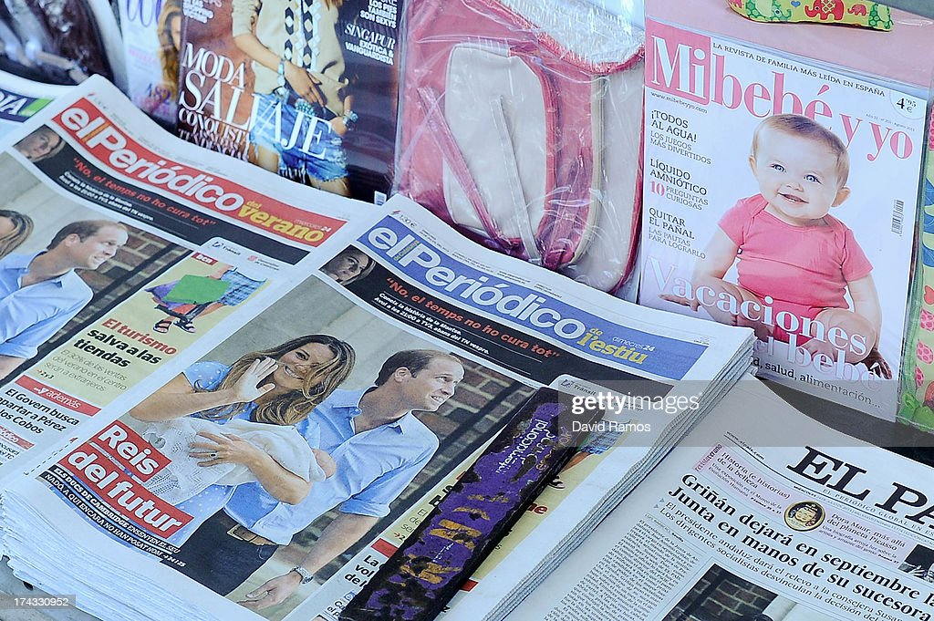 A newspaper stand sells Spanish newspapers featuring the birth of the new royal baby to the Duke and Duchess of Cambridge on July 24, 2013 in Barcelona. Catherine, Duchess of Cambridge gave birth to a boy on July 22 at 16.24 BST, weighing 8lb 6oz, with <a gi-track='captionPersonalityLinkClicked' href=/galleries/search?phrase=Prince+William&family=editorial&specificpeople=178205 ng-click='$event.stopPropagation()'>Prince William</a> at her side. The baby, as yet unnamed, is third in line to the throne and becomes the Prince of Cambridge.