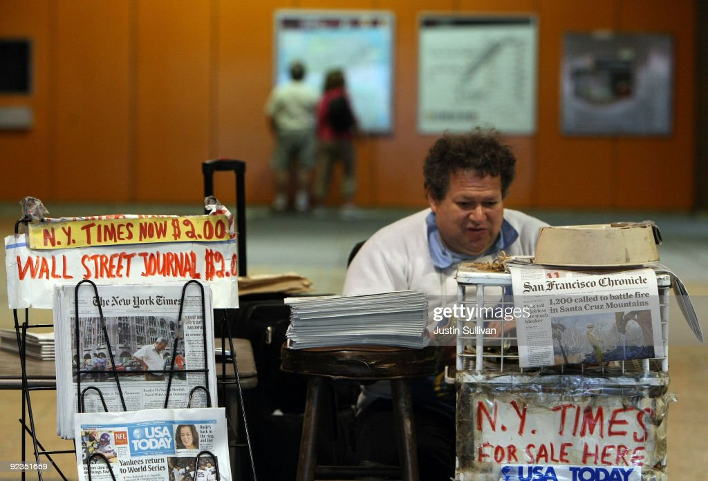 Newspaper vendor Rick Gaub waits for customers at his stand in an underground rail station October 26, 2009 in San Francisco, California. A report by the Audit Bureau of Circulations reveals that the average daily circulation of U.S. newspapers fell 10.6 percent in the six month period between April-September compared to one year ago. The San Francisco Chronicle had the largest decline with a drop of 25.8 percent to 251,782. The Wall Street Journal surpassed USA Today as the number one selling paper in the U.S. after USA Today had its circulation drop more than 17 percent to 1.90 million.