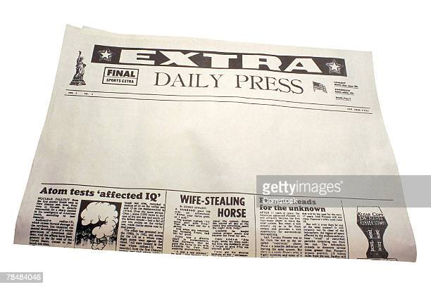 Newspaper with blank space for headlines