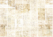 Newspaper with old unreadable text. Vintage grunge blurred paper news texture horizontal background. Textured page. Yellow beige sepia collage. Space for text.