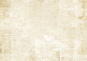 Newspaper with old unreadable text. Vintage grunge blurred paper news texture horizontal background. Textured page. Sepia collage. Front top view.