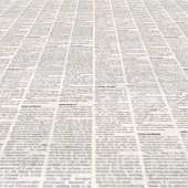 Newspaper with old unreadable text. Vintage blurred paper news texture square background. Textured page. Gray beige collage. Front top view.