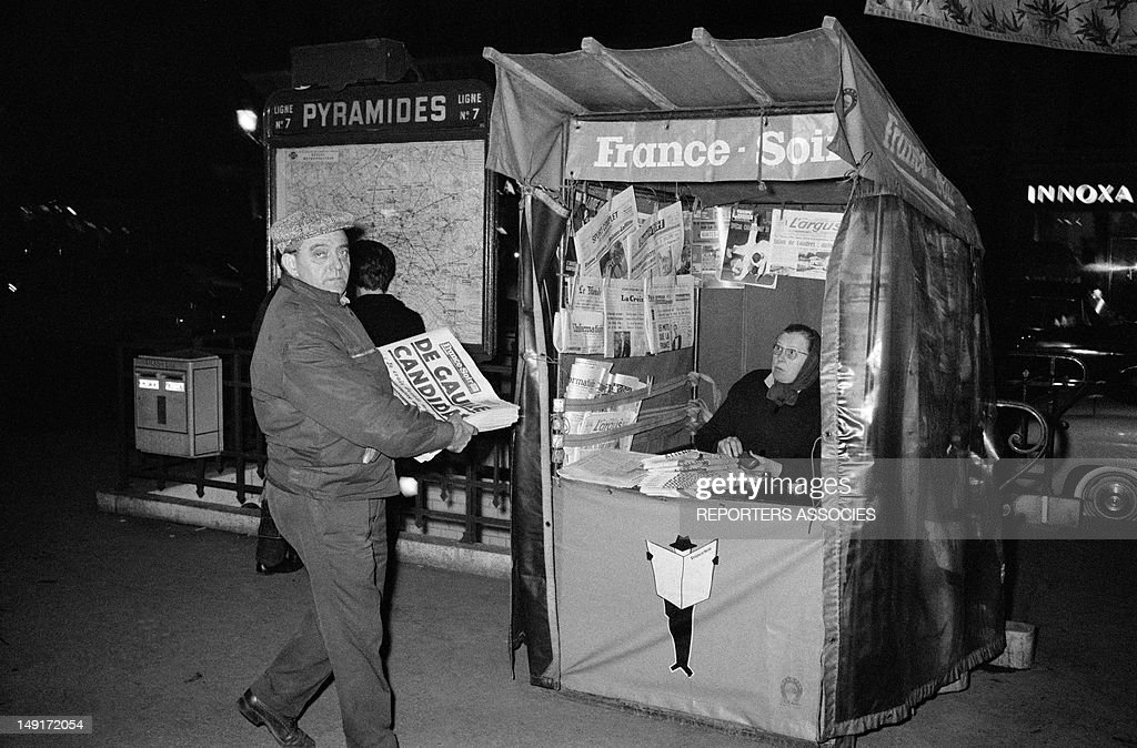 Newspapers announce that General De Gaulle is candidate to the presidential election on November 4, 1965 in Paris, France.