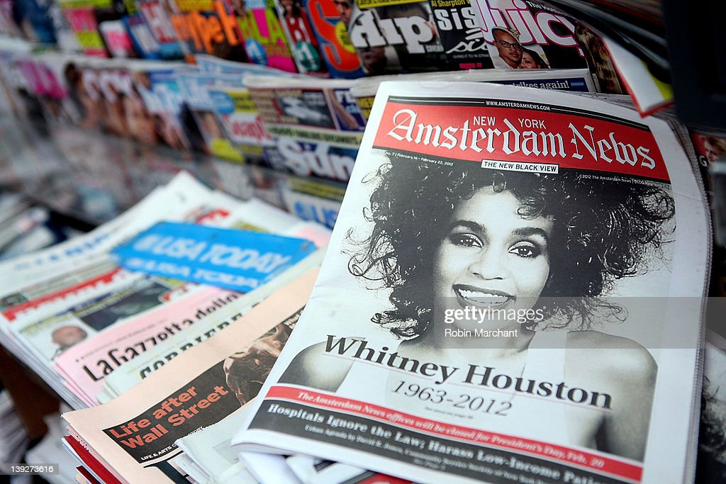 Newspapers are displayed at a newsstand in Times Square on February 18, 2012 in New York City. Whitney Houston was found dead in her hotel room at The Beverly Hilton hotel on February 11, 2012.